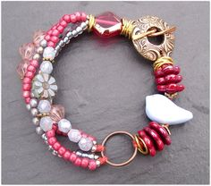 Bird bracelet red bracelet blue bracelet multi by ButtonedUpBeads, £35.00