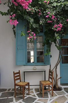 Naxos_Halki_old market, Greece Outdoor Spaces, Outdoor Living, Stone Patio Designs, Naxos Greece, Greek House, Greek Isles, Belle Villa, Bougainvillea, Windows And Doors