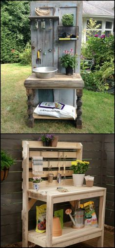 Turn an old wood door into a unique potting bench for your garden!
