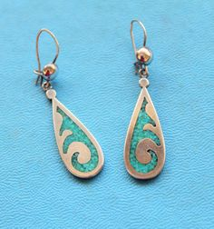 STERLING Turquoise Earrings Silver Dangle Boho by PhatCatVintage