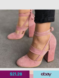3ea2bc29b2311 Share to get a coupon for all on FSJ Pink Dress Shoes Chunky Heels Sandals  Suede Strappy Pumps Heels