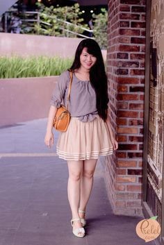 Gray and chiffon outfit