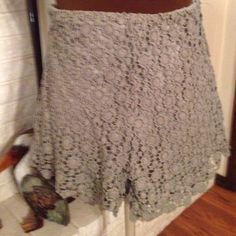 Lace shorts Soft olive lace with a solid underlay.  These can be dressed up or wore for play.  Beautiful lace design. Charlotte Russe Shorts