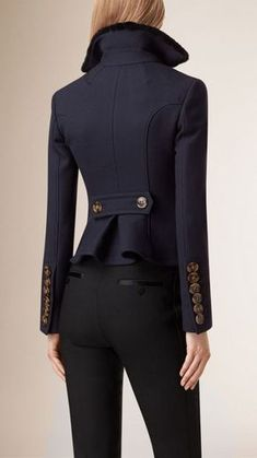 Women's Clothing Navy Tailored Wool Silk Jacket, yes, the one I want hanging in my closet. Mode Ootd, Winter Stil, Silk Jacket, Peplum Jacket, Tailored Jacket, Mode Style, Fashion Outfits, Womens Fashion, Fashion Sets