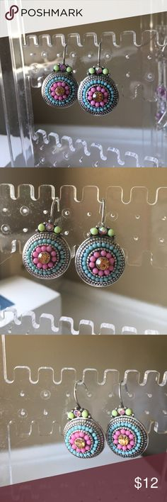 Turquoise Beaded Earrings Colorful Summer Earrings with Pinks, Turquoise, Amber, Silver. Never Worn, Nice Pair of Earrings! Jewelry Earrings