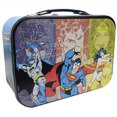 c47cf8d397 Superman Batman and Wonder Woman Super Friends Collectible Metal Lunch Box  Tin