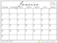 Baixe o Calendário customizado de 2016 para imprimir na sua casa, ele tem espaços para você escrever seus compromissos e se organizar de uma forma eficiente. http://www.ateoultimodetalhe.com/#!downloads/a2li2