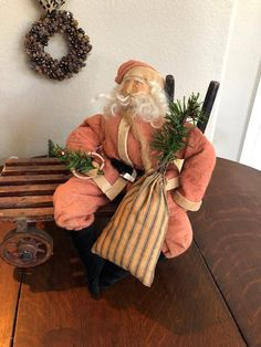 New Primitive Folk Art OLD FASHIONED ANTIQUE SANTA DOLL SHAKER BOXES Cart Wheels