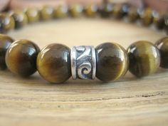 Mens Celtic Bracelet - Tiger Eye Bracelet with Silver Celtic Design Bead, Black and Golden Stone, Simple Bracelet, Protection SS13