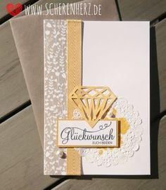 Taupe und Safrangelbe Hochzeitskarte in DIN A5 mit Papierdiamant