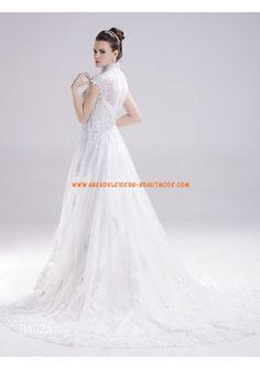 Elegante Brautkleider mit Spitze aus Satin A-Linie mit Schleppe