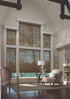 Need window treatment ideas for your home? If you aren't sure about the difference between drapes and curtains or shades and blinds, we've got you covered. - Check Out THE IMAGE for Many Ideas for Shutters Window Treatments. Living Room Drapes, Wooden Shades, Window Treatments, Window Treatments Living Room, Living Room Windows, Diy Window Treatments, Two Story Windows, Woven Wood Shades, Great Rooms