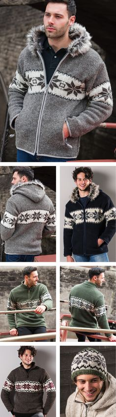 Khumbu Hand Knit, wool hand knitted fleece lined jacket with best selling snowflake pattern and a cosy faux fur trimmed hood. Hand made in Nepal Fairly traded by Namaste. Snowflake Pattern, Line Jackets, Fur Trim, Fair Trade, Nepal, Namaste, Cosy, Hand Knitting, Faux Fur