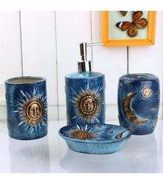 4 Piece Golden Sun and Moon Pattern Blue Ceramic Bath Accessory Sets XF-2013