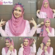 Beautiful flower crown made out of fabric and beautifully styling the hijab, to get this done, you need a hijab with a folded colorful side as the one you can see below Place the hijab on your head with long… Tutorial Hijab Pesta, Pashmina Hijab Tutorial, Hijab Style Tutorial, Hijab Wedding Dresses, Hijab Bride, Hijab Fashionista, Hijab Fashion Inspiration, Trend Fashion, Fashion 2020