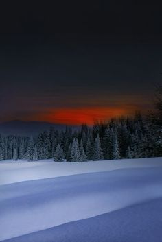 Winter evening in the Vermont Mountains