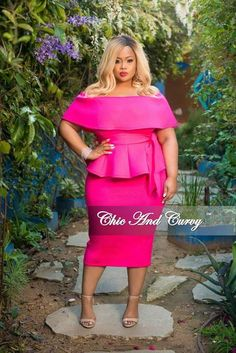 9a6cc76f6a277 New Plus Size 2-Piece Off the Shoulder Belted Peplum Top and Skirt Set in