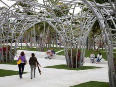Lincoln Park SoundScape, New World Symphony Campus, Miami Beach, Fla Tree Structure, Landscape Structure, Shade Structure, School Architecture, Architecture Details, Landscape Architecture, Landscape Design, Garden Entrance, Urban Fabric