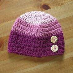 Pink Ombre Crochet beanie with Buttons - Newborn - Ready To Ship