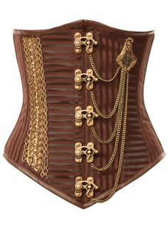 Brown exclusive striped steampunk corset