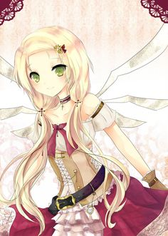 Cute anime fairy with blonde hair and small wings!