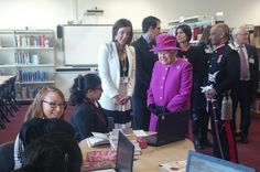The Queen meets students from @ListerSchool literacy group and Laura from @TeachFirst #QueensTrust