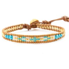 Turquoise Mix Single Wrap Bracelet on Henna Leather - Chan Luu