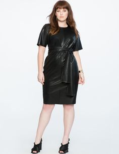 30f66b6053 Naven Bombshell Faux Leather Top with Circle Skirt Dress in Black ...