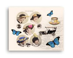 Vintage fashion collage print Butterflies decor Hats wall