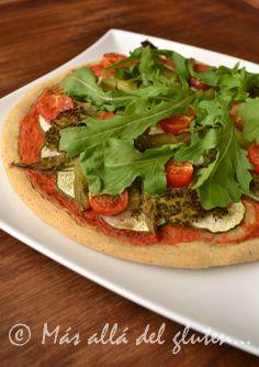"""Más allá del gluten...: Pizza """"Verde"""" de Garbanzo (Receta GFCFSF, Vegana)"""