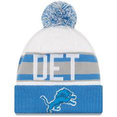 c37d64216d0 Men s Detroit Lions New Era White Blue Retro Cuffed Knit Hat With Pom