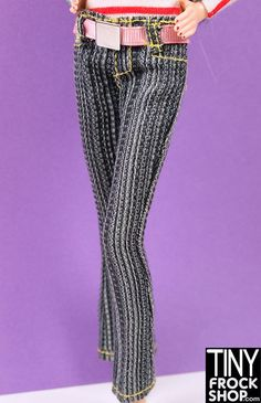 Barbie Striped Slub Jean with Belt Pant