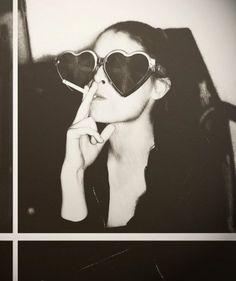 smoking heart glasses black and white