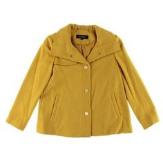 Ellen Tracy Womens Wool Blend Snap Closure Coat, Women's, Size: 4P, Gold