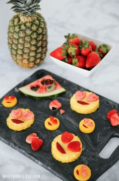 Emoji Fruit | Healthy Valentines Day Snack Ideas for Kids | Easy and cute Valentines food to make for lunch boxes or a school party using cookie cutters and fruit! Also a great DIY food for an Emoji themed birthday party.