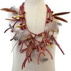 Vintage Multilayer Feather Antlers Beads Necklace #CLICK! #clothing, #shoes, #jewelry, #women, #men, #hats