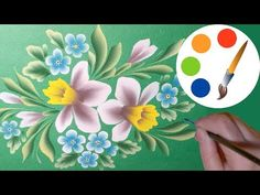 How to paint a bouquet with Narcissuses, One Stroke, irishkalia - YouTube