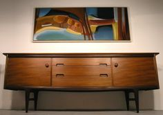 Mid century modern bow front walnut credenza sideboard danish style