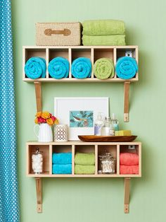 Ensure everything has its place with a storage shelf with cubbies. More bathroom and kitchen projects: http://www.bhg.com/decorating/do-it-yourself/accents/bathroom-and-kitchen-projects/?socsrc=bhgpin051713cubbietowelstorage=10