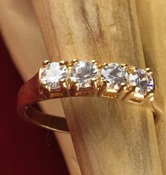 Estate DAC Round White Sapphire 14K Gold Plated Wedding band Ring| JMVS088 |We combine shipping|No Question Refunds|Bid $60 for free shipping. Starting at $1