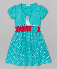 Love this Teal Polka Dot Dress & Shrug - Toddler & Girls by Littoe Potatoes on #zulily! #zulilyfinds