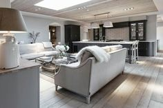 soft chalky contemporary country living kitchen open plan space Sims Hilditch Design Studio at The White Hart Open Plan Kitchen Living Room, Kitchen Dining Living, Open Plan Living, My Living Room, Home And Living, Style At Home, Interior Exterior, Interior Design, Room Interior