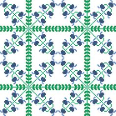 This pretty cross stitch pattern of spring bluebells takes a geometric, trellis like dimension when embroidered in groups. It is perfect for larger projects, such as cushion covers and table runners. Design by CrossStitchtheLine