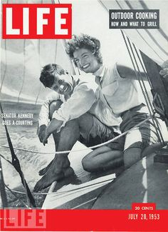 JFK and Jackie . . . this cover would begin a love affair between the couple and LIFE magazine. This was the couple's first appearance on LIFE's cover.  The last time John and Jackie appeared together on a LIFE cover was in 1964:  In still frames from the Zapruder film, the President and First Lady are seen riding in their open car, seconds before the assassin's shots rang out in Dallas.