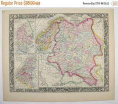 Vintage Map Sweden Norway Map Denmark Holland Map Belgium - Sweden holland map
