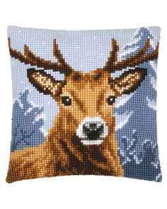 Deer Vervaco Chunky Cross Stitch Cushion Kit - for sale online Diy Bead Embroidery, Dmc Embroidery Floss, Embroidery Fabric, Embroidery Kits, Cross Stitch Embroidery, Cross Stitch Patterns, Needlepoint Pillows, Needlepoint Kits, Kitty Wallpaper