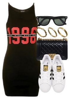 """Style #10987"" by vany-alvarado ❤ liked on Polyvore featuring Topshop, Chanel, adidas Originals, Ray-Ban and Made"