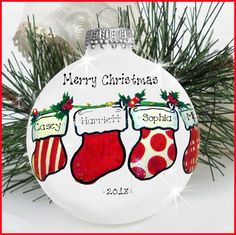 Stocking ornament ~ could use a clear ball & glitter/Pledge floor wax inside to add a little sparkle. Christmas Ornaments To Make, Christmas Balls, Homemade Christmas, Diy Christmas Gifts, Christmas Art, Christmas Projects, Holiday Crafts, Handpainted Christmas Ornaments, Christmas Ideas
