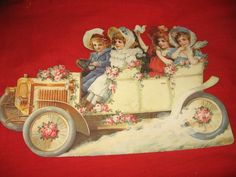 Large Vintage Diecut Early Auto with Victorian Style Children Valentine