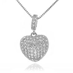 """Sterling Silver 925 Micro-pave Clear Cubic Zirconia Heart Pendant Necklace - 18"""" Sterling Silverado. $39.99. Sterling Silver. Heart. Micro-pave. Model # 206317. Clear Cubic Zirconia"""